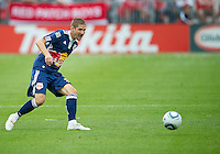 August 21 2010 New York Red Bulls midfielder Carl Robinson #33 in action during a game between the New York Red Bulls and Toronto FC at BMO Field in Toronto..The New York Red Bulls won 4-1