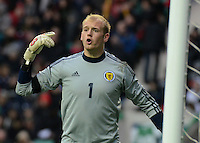 Scotland U21 Mark Ridgers shouts the orders