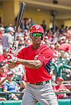 21 March 2015: Washington infielder Michael Taylor awaits the start of play prior to a Spring Training Split Squad game against the Atlanta Braves at Champion Stadium at the ESPN Wide World of Sports Complex in Kissimmee, Florida. The Braves defeated the Nationals 5-2 in Grapefruit League play. Mandatory Credit: Ed Wolfstein Photo *** RAW (NEF) Image File Available ***