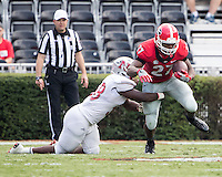 Athens, GA - September 10, 2016: The ninth ranked Georgia Bulldogs vs the Nicholls Colonels at Sanford Stadium.  Final score University of Georgia 26, Nicholls State 24.