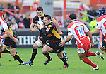 Shaun Connor breaks. Gloucester V Newport Gwent Dragons, EDF Energy Cup  © Ian Cook IJC Photography iancook@ijcphotography.co.uk www.ijcphotography.co.uk
