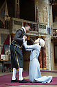 London, UK. 27.06.2015. Shakespeare's Globe presents MEASURE FOR MEASURE, by William Shakespeare, directed by Dominic Dromgoole. Picture shows: Mariah Gale (Isabella), Kurt Egyiawan (Angelo). Photograph © Jane Hobson.