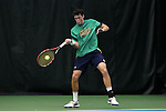 27 January 2017: Notre Dame's Alex Lebedev. The University of North Carolina Tar Heels hosted the University of Notre Dame Fighting Irish at the Cone-enfield Tennis Center in Chapel Hill, North Carolina in the first round of the Intercollegiate Tennis Association Men's Indoor Team Championship. North Carolina won the match 4-0.