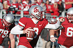 Washington State quarterback, Marshall Lobbestael (#8), directs traffic as he leaves the pocket during the Cougars Pac-10 conference match-up with Arizona State at Martin Stadium in Pullman, Washington, on October 10, 2009.