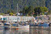 Commercial fishing vessel &quot;Swift&quot; in the Sitka Channel, Sitka, Baranof Island, southeast, Alaska.