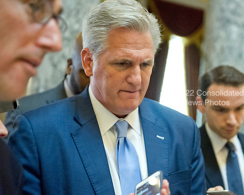 United States House Majority Leader Kevin McCarthy (Republican of California) is interviewed as he walks through Statuary Hall in the US Capitol in Washington, DC following the passage of the American Health Care Act (AHCA) on May 4, 2017.<br /> Credit: Ron Sachs / CNP