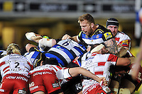 Dominic Day of Bath Rugby in action at a maul. Aviva Premiership match, between Bath Rugby and Gloucester Rugby on February 5, 2016 at the Recreation Ground in Bath, England. Photo by: Patrick Khachfe / Onside Images