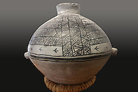 Pottery jar with narrow neck and loop handles, with black on white geometric design, made 1200-76 AD, in the Chapin Mesa Archeological Museum, in Mesa Verde National Park, Montezuma County, Colorado, USA. The jar was found full of corn in February 1955 by Robert and Eugene Ismay of McElmo Canyon Colorado, in a cave. Mesa Verde is the largest archaeological site in America, with Native Americans inhabiting the area from 7500 BC to 13th century AD. It is listed as a UNESCO World Heritage Site. Picture by Manuel Cohen