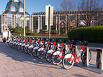 Bixi bicycle rental rack on a street of Ottawa, Ontario, Canada 2012