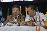 "TAMESIS, CO JULY 24: Antioquia Governor Luis Pérez Gutiérrez (R) , speaks with Tamesis Mayor Alexander Zuluaga (L) during ""Encuentro de Dirigentes del Suroeste"" in Tamesis Antioquia on July 24, 2016.(Photo by VIEWpress/Guillermo Betancur)"