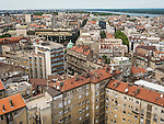 View of Belgrade from the top of the Politica newspaper building looking north toward the Danube River<br /> <br /> Belgrade, Serbia
