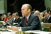 United States President Gerald R. Ford testifies before the United States House Committee on the Judiciary on October 17, 1974 to explain why he pardoned former president Richard M. Nixon for his wrongdoings during the Watergate affair. In his testimony, the first by a sitting President, Ford explained that there were no deals connected with the pardon. <br /> Credit: Benjamin E. &quot;Gene&quot; Forte - CNP