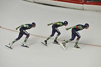 SPEED SKATING: INZELL: 04-12-2015, Max Aicher Arena, ISU World Cup, Team Pursuit Men, Jan Blokhuijsen, Arjan Stroetinga, Douwe de Vries, Team NED, ©foto Martin de Jong