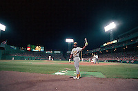 BOSTON, MA - Rickey Henderson of the Oakland Athletics warms up in the on deck circle during game 3 of the American League Championship Series against the Boston Red Sox at Fenway Park in Boston, Massachusetts in 1990. Photo by Brad Mangin