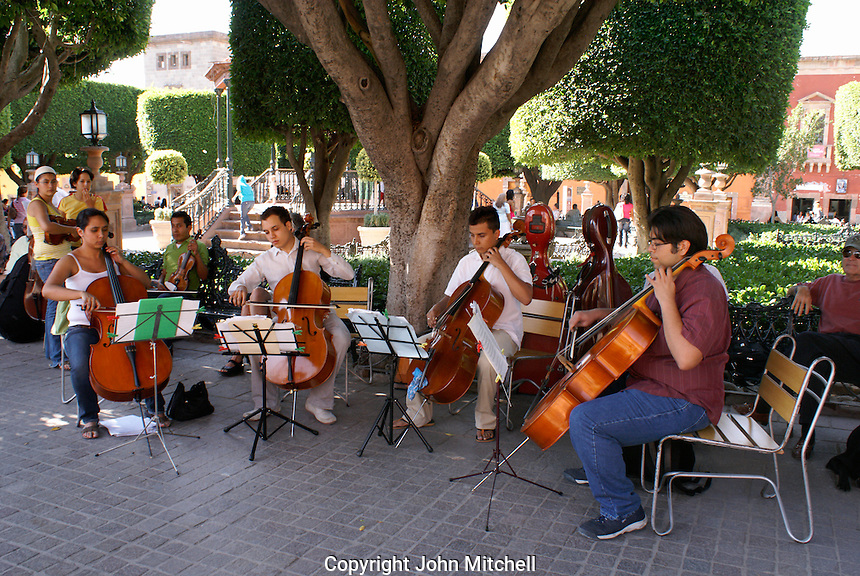 Music students performing the Jardin in San Miguel de Allende, Mexico