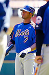 11 April 2006: Jose Reyes, shortstop for the New York Mets, waits his turn during batting practice prior to the Washington Nationals' Home Opener at RFK Stadium, in Washington, DC. The Mets defeated the Nationals 7-1 to maintain their lead in the NL East...Mandatory Photo Credit: Ed Wolfstein Photo..