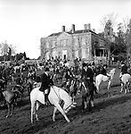 The Duke of Beauforts Hunt...The meet at Easton Grey House. Easton Grey, Wiltshire. It was at Easton Grey that the former Prince of Wales planted an oak tree to commemorate the time he spent there enjoying the 1922-23 hunting season. The present Prince, the Princes, and their family friends still hunt with the Beaufort. ...Hunting with Hounds / Mansion Editions (isbn 0-9542233-1-4) copyright Homer Sykes. +44 (0) 20-8542-7083. < www.mansioneditions.com >.