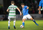 St Johnstone v Celtic...13.08.14  SPFL<br /> Adam Morgan is closed down by Stefan Johansen<br /> Picture by Graeme Hart.<br /> Copyright Perthshire Picture Agency<br /> Tel: 01738 623350  Mobile: 07990 594431