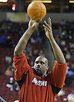 Miami Heat's Shaquille O'Neal practices taking shots before their game with the Seattle Supersonics at Key Arena in Seattle, Washington  on Friday, 13 March 2005.  Jim Bryant Photo. &copy;2010. All Rights Reserved.
