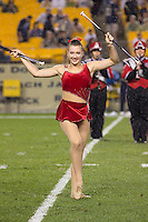 Youngstown State majorette. The Youngstown St. Penguins defeated the Pittsburgh Panthers 31-17 on Saturday, September 1, 2012 at Heinz Field in Pittsburgh, PA.