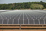 July 29, 2011. Cary, NC.. Energy generated from the ever expanding solar farm on the SAS campus is sold back to Progress Energy, their utility provider, in an attempt to offset the power use of the company.. Profile of SAS, a software company that has many amenities for its employees.
