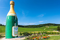 Giant champagne bottle along the Champagne Tourist Route at Cramant in the Marne Valley, Champagne-Ardenne, France