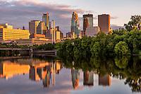 Minneapolis skyline at dusk from Boom Island.