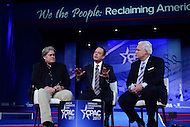 National Harbor, MD - February 23, 2017: White House Chief of Staff Reince Priebus and Steve Bannon, president Trump's chief strategist, participate in a discussion moderated by Matt Schlapp, Chairman of the American Conservative Union, during the Conservative Political Action Conference at the Gaylord Hotel in National Harbor, MD, February 23, 2017,   (Photo by Don Baxter/Media Images International)