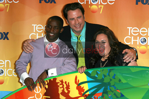 Elijah Kelley with John Travolta and Nikki Blonsky<br />in the press room of the 2007 Teen Choice Awards. Gibson Amphitheater, Universal City, CA. 08-26-07<br />Dave Edwards/DailyCeleb.com 818-249-4998