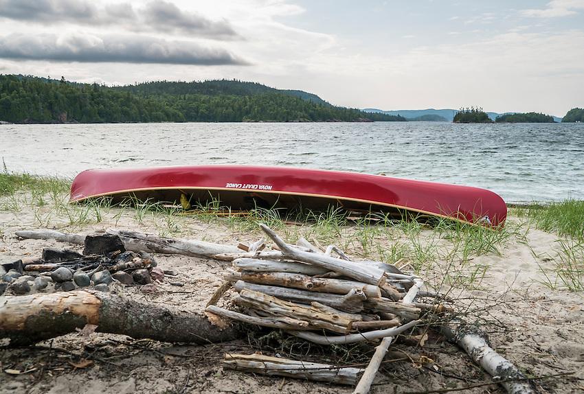 Canoe camping at Lake Superior Provincial Park, Ontario, Canada.