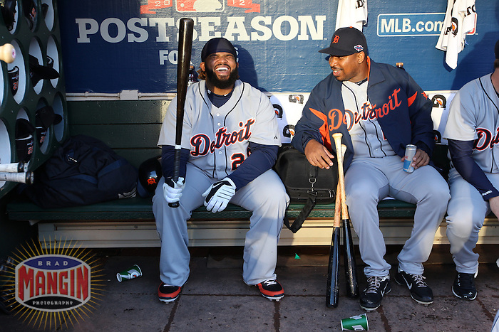 OAKLAND, CA - OCTOBER 9:  Prince Fielder and Delmon Young of the Detroit Tigers joke around and laugh in the dugout before Game 3 of the ALDS against the Oakland Athletics at O.co Coliseum on October 9, 2012 in Oakland, California. (Photo by Brad Mangin)