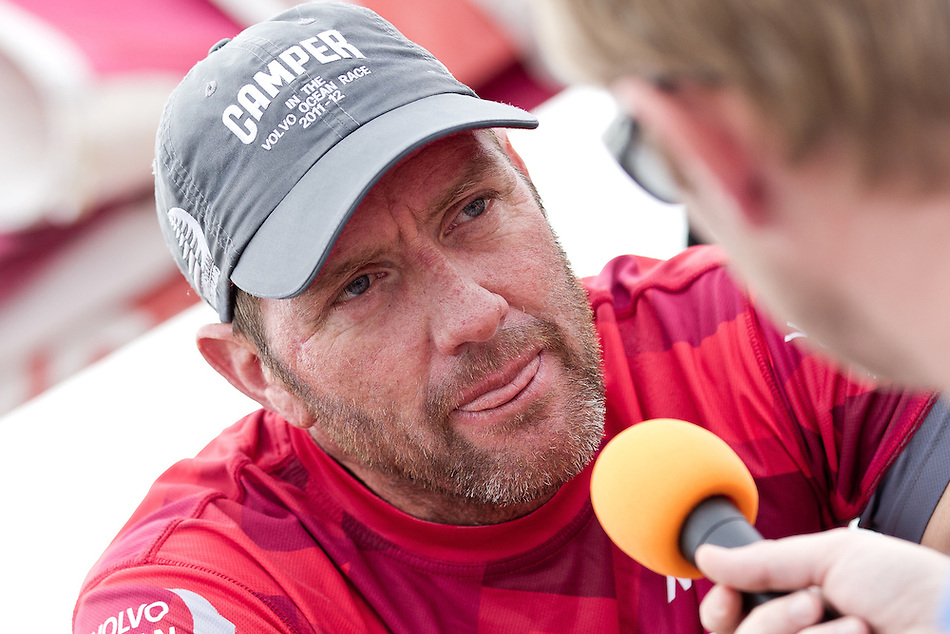 CHINA, Sanya. 4th February 2012. Volvo Ocean Race. Leg 3 Arrivals. Tony Rae, Helmsman, CAMPER with Emirates Team New Zealand.
