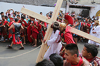 Mexico City, Mexico. 18th April 2014 - Revellers take part in a performance of the passion of Christ at the Holy Friday celebrations, in Iztapalapa, Mexico City, capital of Mexico. Photo by VIEWpress/Miguel Pantaleón