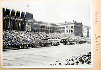 BNPS.co.uk (01202 558833)<br /> Pic: Dickins/BNPS<br /> <br /> The huge Nazi victory parade for von Richthofen's Condor Legion in the heart of Berlin in June 1939.<br /> <br /> The unseen personal photo album of Field Marshal Wolfram von Richthofen, cousin to the legendary Red Baron, which gives an unprecedented insight into his military career in the Third Reich, has been rediscovered.<br /> <br /> Wolfram served in the Red Baron's squadron in the WW1, went on to design the 'Jericho trumpet' of the infamous Stuka Bomber between the wars, before leading the Condor Legion in the Spanish Civil War.<br /> <br /> After the outbreak of WW2 the fascinating album shows Richthofen's lead roll in Operation Barbarossa - the Nazi's suprise invasion of Communist Russia and their race to conquer the vast country before the onset of the notorious Russian winter.<br /> <br /> The two albums were taken from Berlin by a British soldier at the end of the Second World War who kept it for 60 years before it was passed into the hands of a private collector.<br /> <br /> Dickins auctions are selling the historic albums with a &pound;20,000 estimate on 31st March.