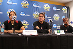 03 December 2011: Stanford's Teresa Noyola (left), Alina Garciamendez (center), and Lindsay Taylor (right). The Stanford University Cardinal held a press conference at KSU Soccer Stadium in Kennesaw, Georgia the day before playing Duke in the NCAA Division I Women's Soccer College Cup championship game.
