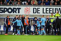 VOETBAL: HEERENVEEN: Abe Lenstra Stadion, SC Heerenveen - Ajax, 11-01-2012, Eindstand 0-5, Ismaïl Aissati (#28) viert z'n doeltpunt (0-2) samen met Vurnon Anita (#5), Toby Alderweireld (#3) en de Ajax wisselspelers, ©foto Martin de Jong