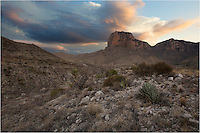 Storm clouds loom over El Capitan, Texas' 8th tallest peak (8,085 feet) and its most iconic. El Capitan, located in Guadalupe Mountains National Park near the Texas-New Mexico border, also holds the tallest point in Texas, Guadalupe Peak. This El Capitan picture was taken before sunrise on a trail that connects to the El Capitan Trail. At sunrise or sunset, the park is a nice place to enjoy the solitude.