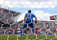 Chicago, IL - Sunday July 28, 2013:   USMNT goalkeeper Nick Rimando (1) defends his goal during the CONCACAF Gold Cup Finals soccer match between the USMNT and Panama, at Soldier Field in Chicago, IL.