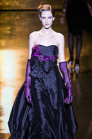 Maria Kashleva walks runway in a black/amethyst taffeta & tulle gown, from the Badgley Mischka Fall 2011 fashion show, during Mercedes-Benz Fashion Week Fall 2011.