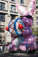 NEW YORK - NOVEMBER 24:  The Energizer Bunny Balloonicle makes its way down Central Park West during the annual Macy's Thanksgiving Day Parade on Thursday, November 24, 2011.