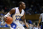 08 November 2014: Duke's Rasheed Sulaimon. The Duke University Blue Devils hosted the University of Central Missouri Mules at Cameron Indoor Stadium in Durham, North Carolina in an NCAA Men's Basketball exhibition game. Duke won the game 87-47.