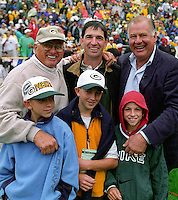 Three great guards: former Green Bay Packer Fuzzy Thurston, former NBA All-Star player John Stockton and former Packer Jerry Kramer pose for a photo with Fuzzy's grandkids during the September 9, 2001 home opener against the Detroit Lions. Part of the Packers' commitment to the fans involves bringing back past Packers for an alumni appreciation day.
