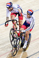 Picture by Charlie Forgham-Bailey/SWpix.com - 06/03/2016 - Cycling - 2016 UCI Track Cycling World Championships, Day 5 - Lee Valley VeloPark, London, England - Sir Bradley Wiggins of GBR and Mark Cavendish winning gold in the Men's Madison Race