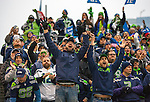 Seattle Seahawks fans cheer against the San Francisco 49ers in the NFL Championship Game at CenturyLink Field in Seattle, Washington on January 19, 2014.  The Seahawks beat the 49ers 23-17 to represent the NFC in the Super Bowl.   ©2014. Jim Bryant Photo. ALL RIGHTS RESERVED.