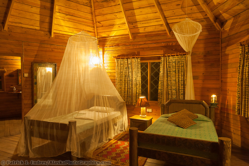 Mosquito nets over the beds in Jacana Lodge, Uganda, East Africa
