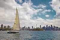 Yacht sails in Sydney Harbour, Australia