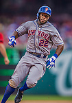 27 July 2013: New York Mets outfielder Eric Young hustles to third during a game against the Washington Nationals at Nationals Park in Washington, DC. The Nationals defeated the Mets 4-1. Mandatory Credit: Ed Wolfstein Photo *** RAW (NEF) Image File Available ***