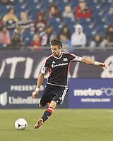 New England Revolution midfielder Stephen McCarthy (26) passes the ball. In a Major League Soccer (MLS) match, the New England Revolution defeated Chicago Fire, 2-0, at Gillette Stadium on June 2, 2012.