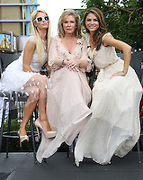 "Paris Hilton, Kathy Hilton, Maria Menounos.Gabriel Mann And Kathy And Paris Hilton Fashion Show On ""Extra"" Held at The Grove, West Hollywood, California, USA..May 2nd, 2012.full length white sheer beige pink sunglasses shades mother mom mum daughter family dress.CAP/ADM/KB.©Kevan Brooks/AdMedia/Capital Pictures."