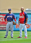 8 March 2012: Boston Red Sox infielder Dustin Pedroia (left) stands with St. Louis Cardinal infielder Alex Cora prior to a Spring Training game at Roger Dean Stadium in Jupiter, Florida. The Cardinals defeated the Red Sox 9-3 in Grapefruit League action. Mandatory Credit: Ed Wolfstein Photo